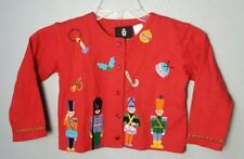 MICHAEL SIMON GIRLS Christmas Nutcracker Applique Sweater Red Sz 4/5 ADORABLE~R9