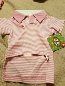 dog shirt. pink & white striped collared shirt NWT. size small