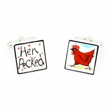 Sonia Spencer Hen Pecked Cufflinks - Hand painted, RRP £20!