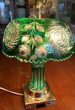 "Desk Lamp Green Cut Lead Crystal Column&Shade-Brass Base-PRISTINE 15""T- Signed"