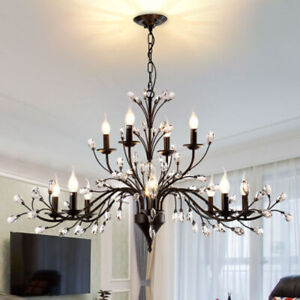 LED Country Chandelier Living Room Branch Ceiling Lamp Bedroom Lighting Fixture