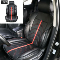 1x Universal PU Leather Single Front Black with Red Car Seat Covers Set