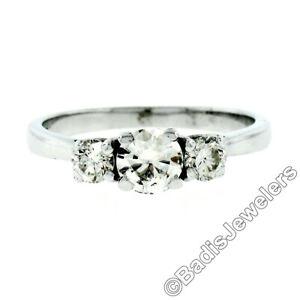 Vintage 14K White Gold .88ctw Transitional Round Diamond 3 Stone Engagement Ring