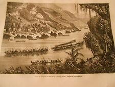 Course de pirogues sur le méking IndoChina Gravure Print 1872