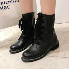 Women Leather Ankle Boots Low Heel Vintage Round Toe Fashion Casual Shoes US4-10