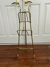 Mid Century Vintage Brass Folding Collapsible Easel Magazine Stand