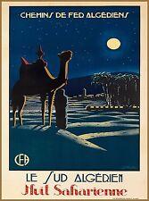 Southern Algeria Saharan Night North Africa Vintage Travel Advertisement Poster