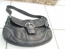 Shoulder Bag Coach Purse black leather medium silver buckle decoration
