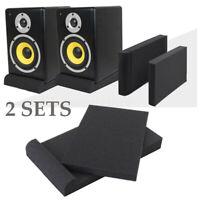 4pcs/2set Studio Monitor Speaker Isolation shockproof Acoustic Foam Pads Black