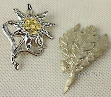 WW2 WWII German Metal Edelweiss Leaves Cap Badge Pin Insignia Silver