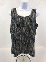 Additions By Chico's Women's Blue/Black/Beige Sleeveless Blouse Sz 2 (L)