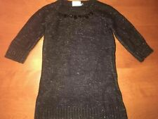 Girls CRAZY 8 L/S Black & Silver Sparkly Sweater Dress w/ Black Rhinetones XS 4