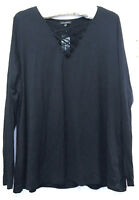 Lane Bryant Black Criss Cross Front Cut Out Long Sleeve Shirt 22/24 MSRP $39.95
