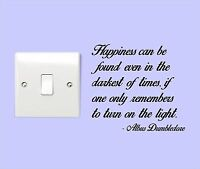 DUMBLEDORE TURN ON THE LIGHT Harry Potter Quote Bedroom Sticker Wall Art, NEW
