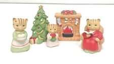 Vintage Homco Christmas Cat Family Figurines #5103 Set of 5