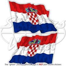 KROATIEN Wehende Flagge KROATISCHE Fahne Vinyl Sticker Aufkleber 75mm x2