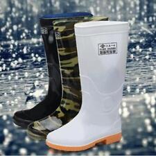 Mens Round Toe Rain Boots Elastic Rubber Fishing Waterproof Mid Calf Shoes 2020