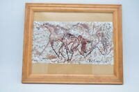 Elizabeth Sullivan E. C. Watercolor Horses Running Painting Art Original Framed