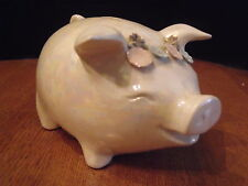 Lefton's Piggy Bank Pink & Green Flowers Lusterware #1122