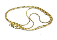 MADE IN ITALY BOX CHAIN THIN NECKLACE - 18K YG 925 STERLING SILVER SPRING RG