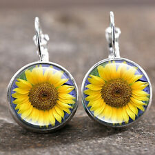 cabochon 18 Mm Lever Back Earrings 1 pair Sunshine Sunflowe Silver Trendy Glass