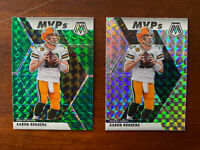2020 Panini Mosaic AARON RODGERS Green Prizm MVP #300  + Silver PACKERS CLEAN