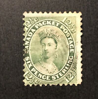 1859 CANADA PACKET POSTAGE STAMP # 18 H