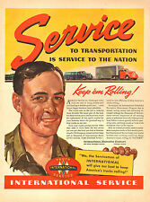 1942 WW 2 AD INTERNATIONAL TRUCK SERVICE Keeps 'em Rolling to Victory!   082917