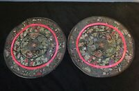 """Vintage Chinese / Asian Embroidered silk Doilies Doily 8"""" lot of 2 floral"""