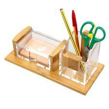 Bamboo Desk Tidy Organiser Business Card Holder Pen Pot Pencil Holder