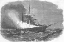 IRELAND. Burning of ship Madonna, Belfast, antique print, 1855