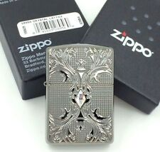 Zippo Crystal Lattice Armor High Polish Black Ice Windproof Lighter 28956 New