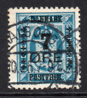Denmark 7 Ore on 4 Ore Stamp c1926-27 Used (2186)