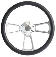 "SPECIAL BUY!! Billet and BLK Carbon Fiber Vinyl 14"" Steering Wheel - Chevy, Ford"