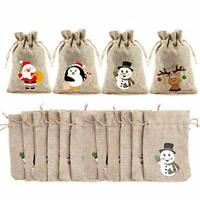VEYLIN 12 Pieces Christmas Jute Bags Burlap Gifts Bag with Drawstring for Xmas