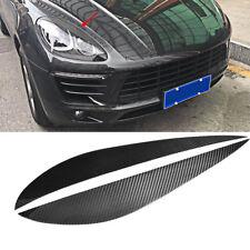 For Porsche Macan 2014-2018 HeadLight Eyelid Eyebrows Cover Carbon Fiber 2PCS
