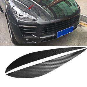 Fits Porsche Macan 2014-2018 HeadLight Eyelid Eyebrows Cover Carbon Fiber 2PCS