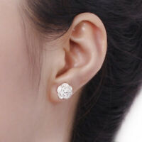 Lady Cherry Blossoms Lady Elegant Crystal Silver Color Ear Stud Earrings Gift G