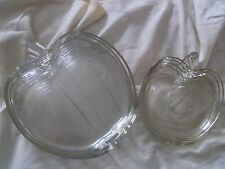 Vintage Glass Apple Shaped 5 Snack Plate with Apple Plate Cup Holder