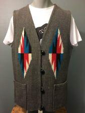 Vtg Chimayo Wool Blanket Vest Womens XL Indian Southwest Woven NM Navajo Ladies