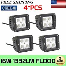 4X 3inch 16W CREE LED Cube Pods Work Light Flood Beam SUV UTE Offroad Truck Jeep
