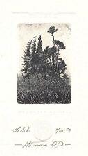 Exlibris Ex libris etching Bookplate NIKOLAI BATAKOV