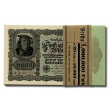 Germany Hyperinflation Banknotes Bank Wrapped Consecutive Notes 50,000 Mark 1922