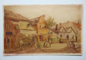 "Franz HOFFELNER (1875-1936), ""Vorstadt"", AQUARELL, SIGNIERT"