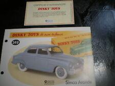 Fiche fascicule + Certificat Simca 9 Aronde 1951-1956  Dinky Toys 24U Atlas F