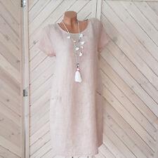 Leinen Sommerkleid rosa Kleid Taschen Gr. 38 40 42  one size  H11