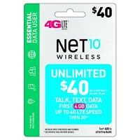 NET 10 REFILL  Prepaid $40 Refill Top-Up , AIRTIME  RECHARGE  UNLIMITED TALK/TEX