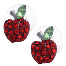 Small Red Apple  Post Stud Earrings Jewelry Gift for Teachers Girls Women e51r