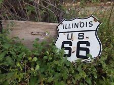 """"""" Illinois."""" Route 66 vintage Steel porcelain road sign."""