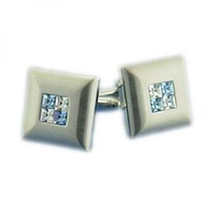 Silver Metal with Inlayed Crystal and Sapphire Stones Cufflinks Boxed X2PSF085